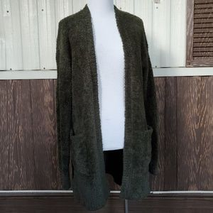 Mossimo olive green furry cardigan open front sz S